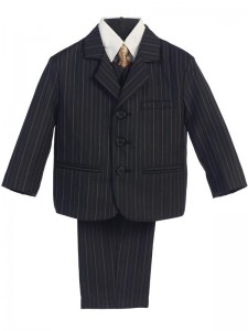 Boy's 5 Piece Black and Gold Pinstripe Suit with Gold Tie [LBS0111]