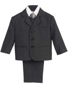 Boy's 5 Piece Dark Gray Suit [LBS0108a]
