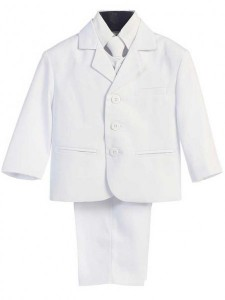 Boy's 5 Piece White Suit [LBS0106a]
