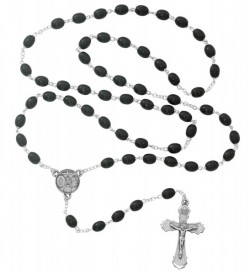 Boy's Black Wood Bead Confirmation Rosary [MVRB1012]