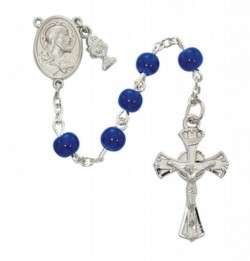 Boys Blue Glass and Sacred Heart First Communion Rosary [MV1047]