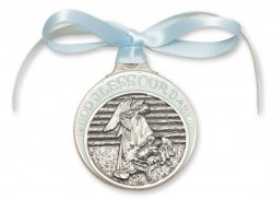 Boy's Blue Ribbon Angel in Manger Crib Medal in Pewter [BLCRB001]