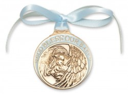 Boy's Blue Ribbon Guardian Angel Crib Medal in Brass [BLCRB004]