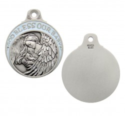 Boy's Blue Ribbon Guardian Angel Crib Medal in Pewter [BLCRB003]