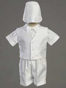 Boy's Embroidered Baptism Shantung Vest and Short Set [LCC8470]