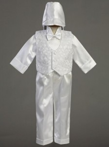 Boy's Embroidered Baptism Vest and Satin Pants [LCC8250]