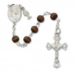 Boys First Communion Rosary with Brown Beads and Chalice Charm [MV1046]