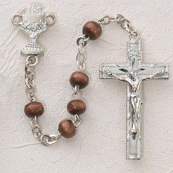 Boy's First Communion Rosary with Wood Beads [MVC0049]