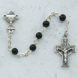 Boy's Celtic First Communion Rosary in Pewter [MVC0037]