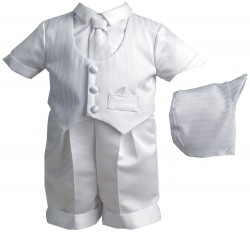 Boy's Pinstripe Baptism Short Set with Striped Vest [HBB1003]