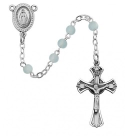 Boy's Rosary with 3mm Blue Glass Beads [RBMV001]