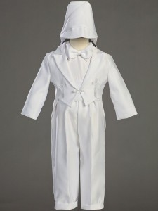 Boy's Round Tail Satin Baptism Suit with Cummerbund [LCC8800]