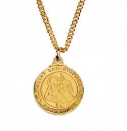 Boy's Saint Christopher Medal Round Goldtone [MV2022]