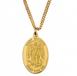Mens Saint Michael Oval Goldtone Medal [MV2014]