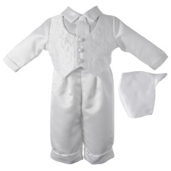 Boy's Satin Long Sleeve Baptism Pant Set with Diamond Embroidered Vest [HBB1018]