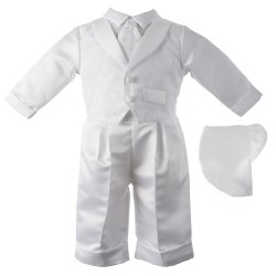Boy's Satin Long Sleeve Baptism Pant Set with Dobby Crosses [HBB1017]