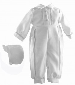 Boy's Shantung Long Baptism Romper with Brocade Trim [HBB1015]