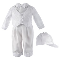 Boy's Shantung Long Cross Dobby Baptism Outfit [HBB1517]