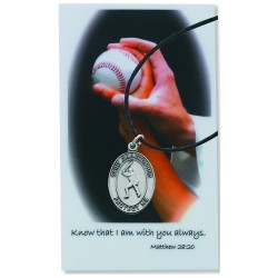 Boy's St. Christopher Baseball Medal Leather Chain Prayer Card [PC770BS]