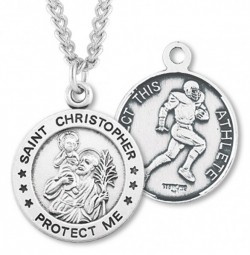 Men's Sterling Silver Round Saint Christopher Football Medal [HMM1003]