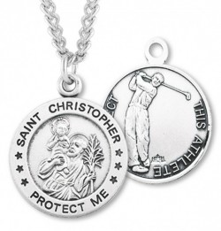 Men's St. Christopher Golf Medal Sterling Silver [HMM1007]