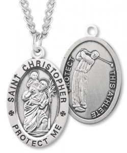 Men's St. Christopher Golf Medal Sterling Silver [HMM1019]