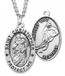 Men's St. Christopher Hockey Medal Sterling Silver [HMM1015]