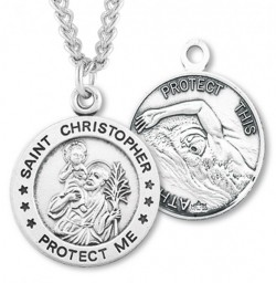 Men's St. Christopher Swimming Medal Sterling Silver [HMM1010]