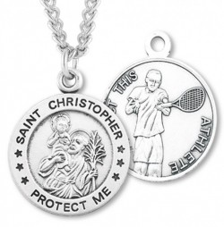 Men's St. Christopher Tennis Medal Sterling Silver [HMM1006]