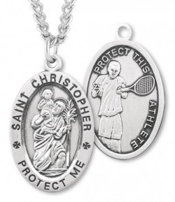 Men's St. Christopher Tennis Medal Sterling Silver [HMM1020]