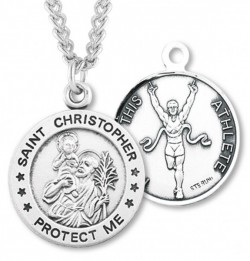 Men's St. Christopher Track Medal Sterling Silver [HMM1005]