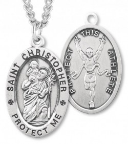 Men's St. Christopher Track Medal Sterling Silver [HMM1022]