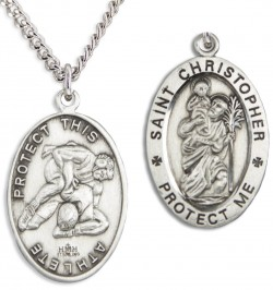 View all wrestling medals catholic faith store boys st christopher wrestling medal sterling silver hmm1023 aloadofball Image collections