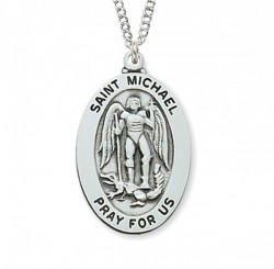 Boys St. Michael Oval Medal Sterling Silver [MVM1044]