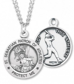View all baseball medals catholic faith store mens sterling silver round saint sebastian baseball medal hmm1041 aloadofball Gallery