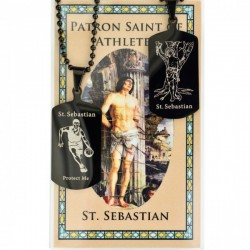 Boy's St. Sebastian Basketball Dog Tag Necklace and Prayer Card [MV1091]
