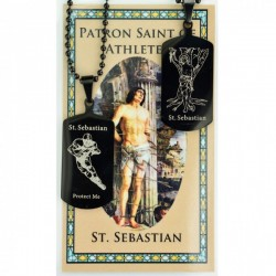 Boy's St. Sebastian Football Dog Tag Necklace and Prayer Card [MV1088]