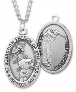 Men's St. Sebastian Golf Medal Sterling Silver [HMM1031]