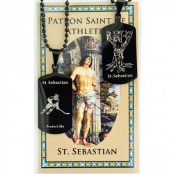 Boy's St. Sebastian Hockey Dog Tag Necklace and Prayer Card [MV1087]