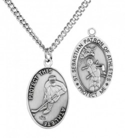 Men's St. Sebastian Hockey Medal Sterling Silver [HMM1027]
