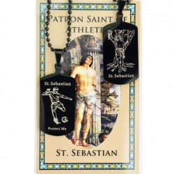 Boy's St. Sebastian Soccer Dog Tag Necklace and Prayer Card [MV1089]