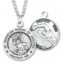 Men's St. Sebastian Swimming Medal Sterling Silver [HMM1047]
