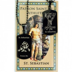 Boy's St. Sebastian Wrestling Dog Tag Necklace and Prayer Card [MV1090]