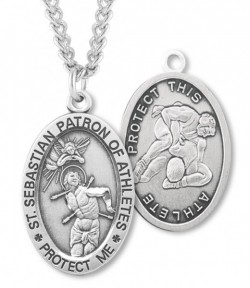View all wrestling medals catholic faith store boys st sebastian wrestling medal sterling silver hmm1035 aloadofball Image collections