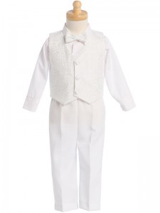 Boy's White 4-Piece Embroidered Jacquard Vest Set [LBS0116]