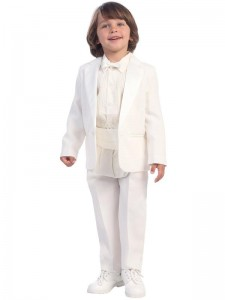 Boy's White Tuxedo With Cummerbund And Bowtie [LBS0131]