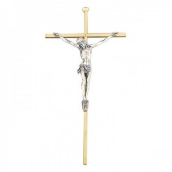 "Brass Metal Crucifix with Silver Corpus - 10"" [JC0814]"
