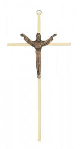 "Brass Risen Christ Crucifix, Brass Corpus - 10""H [MVR0001]"