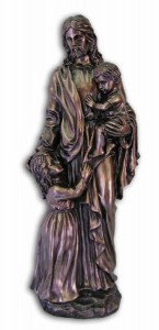 Bronzed Resin Christ with Children Statue - 35 Inches [GSCH1015]