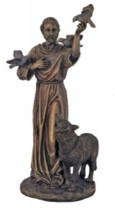 Bronzed Resin St. Francis with Animals Statue - 11 Inches [GSCH1051]